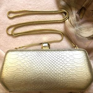 Rebecca Minkoff Gold Clutch Crossbody Chain Bag